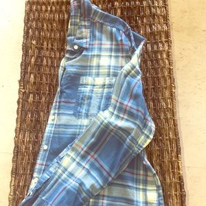 New without tags blue plaid button down